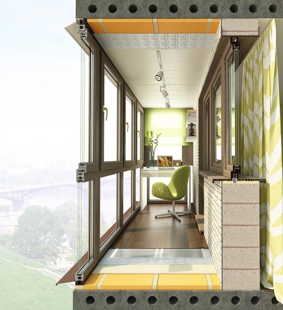 Пример теплого остекления балкона